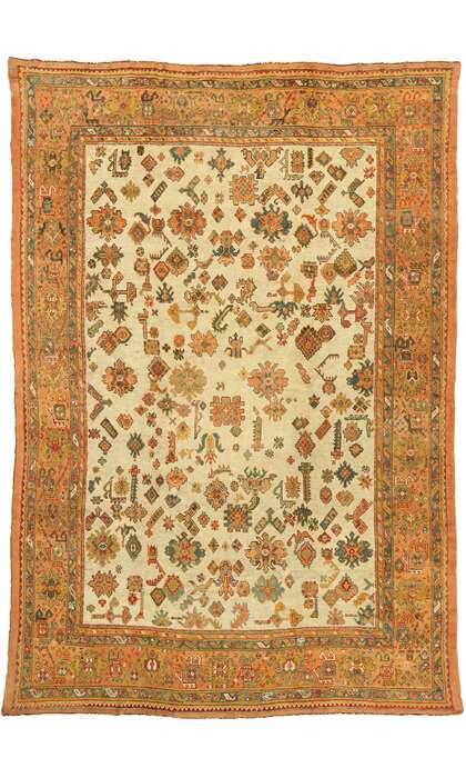 12 x 18 Antique Turkish Oushak Rug 77106