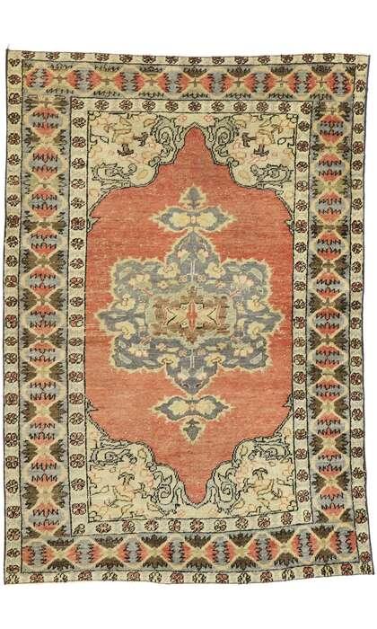 4 x 6 Vintage Turkish Oushak Rug 53066
