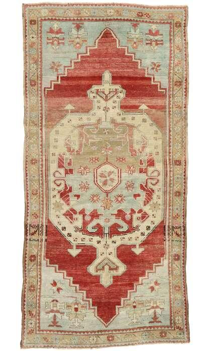 4 x 9 Vintage Turkish Oushak Rug 53081