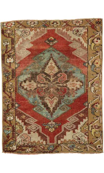 3 x 4 Vintage Turkish Oushak Rug 53082
