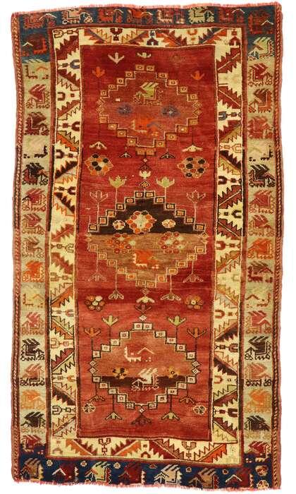 4 x 6 Vintage Turkish Oushak Rug 53096