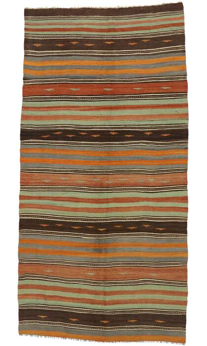 5 x 10 Vintage Turkish Kilim Runner 53134