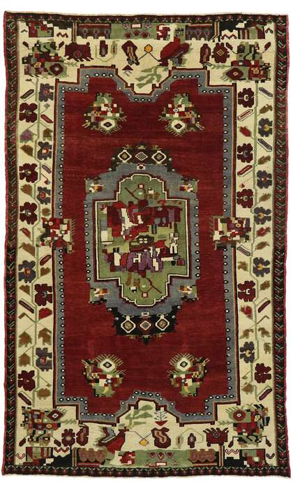 6 x 9 Vintage Turkish Oushak Rug 53180