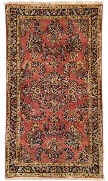 3 x 5 Vintage Persian Sarouk Rug 77522