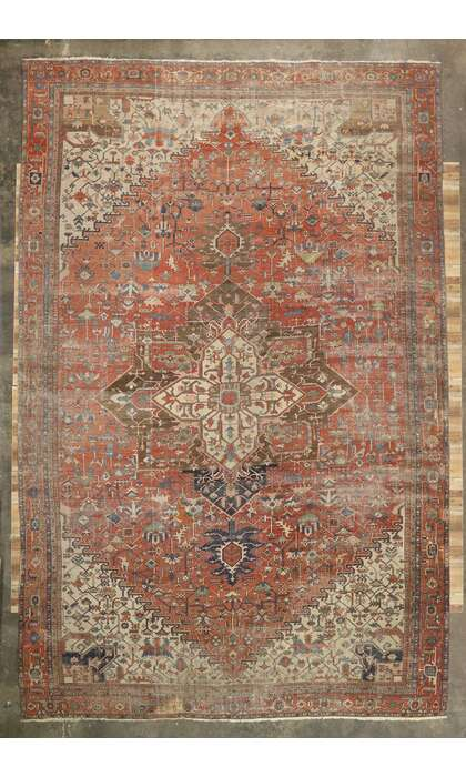 15 x 23 Antique Persian Serapi Rug 77525