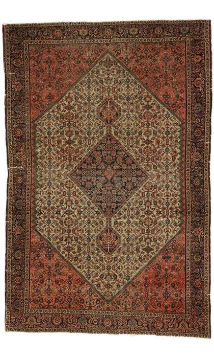 4 x 6 Antique Persian Farahan Rug 77530
