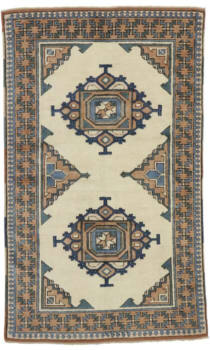 4 x 6 Vintage Turkish Oushak Rug 53186