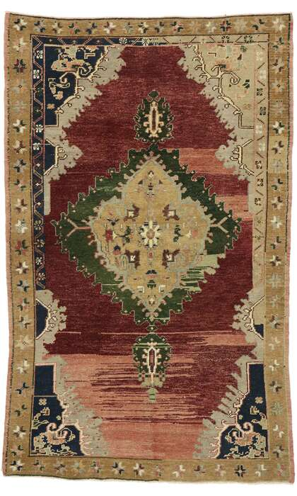 4 x 6 Vintage Turkish Oushak Rug 53216