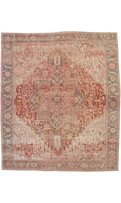 12 x 14 Antique Persian Heriz Rug 53245