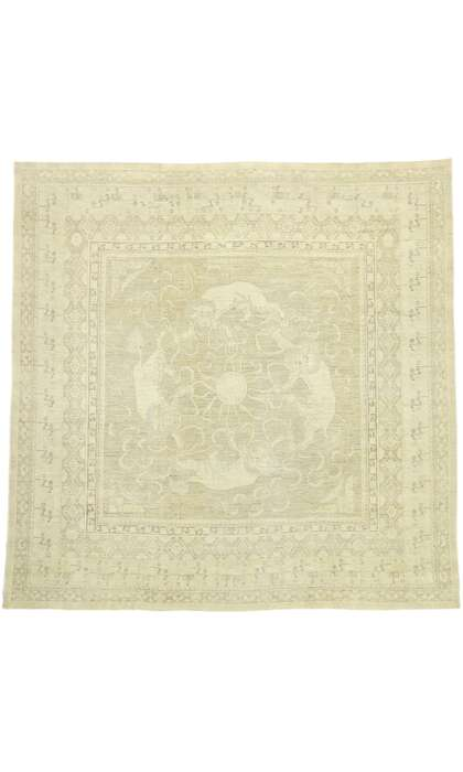 14 x 14 Contemporary Pakistani Khotan Square Rug with Chinese Foo Dog Design and Transitional Style 76620