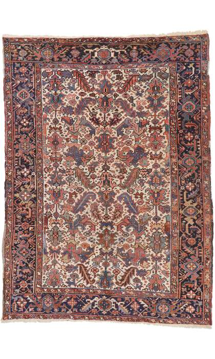 7 x 10 Antique Persian Heriz Rug 77559