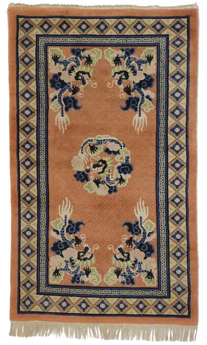 3 x 5 Antique Chinese Dragon Pictorial Rug 77589