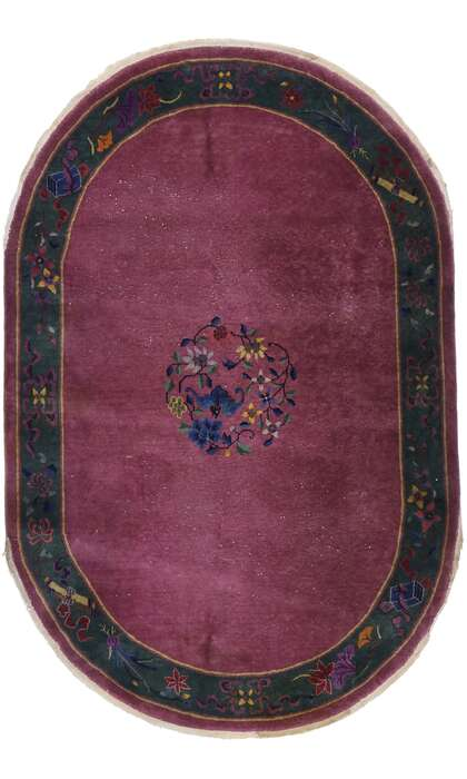 6 x 9 Antique Chinese Art Deco Oval Rug 77618
