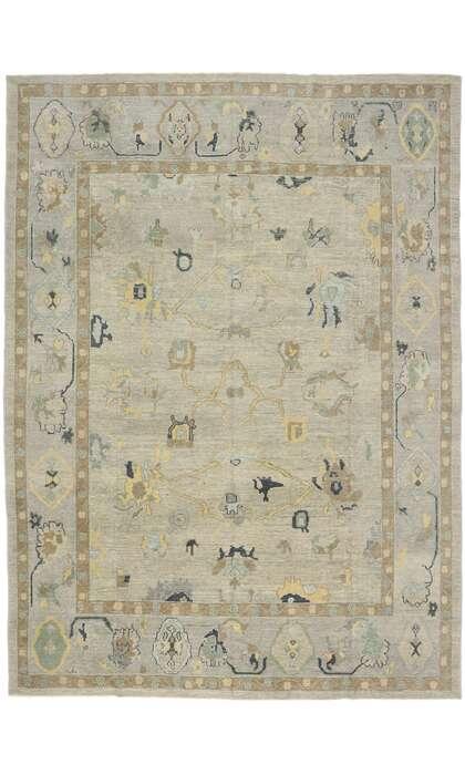 10 x 14 Contemporary Turkish Oushak Rug 53498