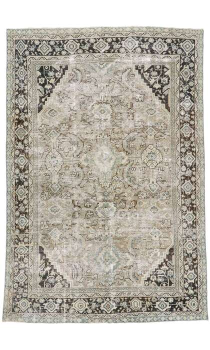 7 x 11 Distressed Antique Persian Mahal Rug 60855