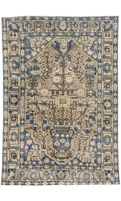 5 x 7 Distressed Vintage Persian Mahal Rug 60888