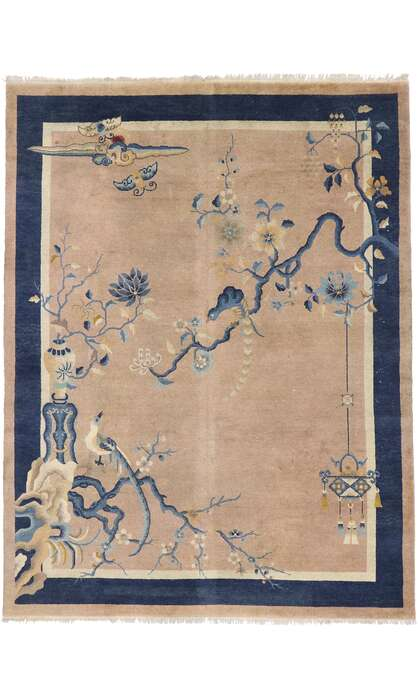 9 x 12 Antique Chinese Art Deco Pictorial Rug 77583