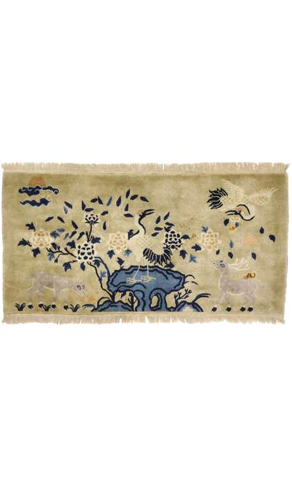 2 x 5 Antique Chinese Art Deco Pictorial Rug 77584
