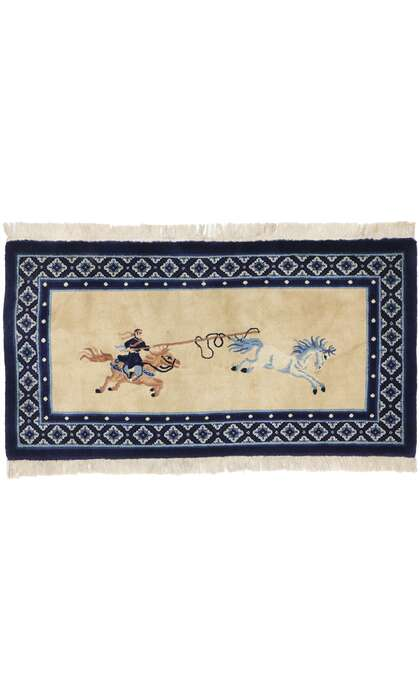 3 x 5 Antique Chinese Art Deco Pictorial Rug 77592