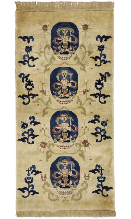 2 x 5 Antique Chinese Art Deco Pictorial Rug 77594
