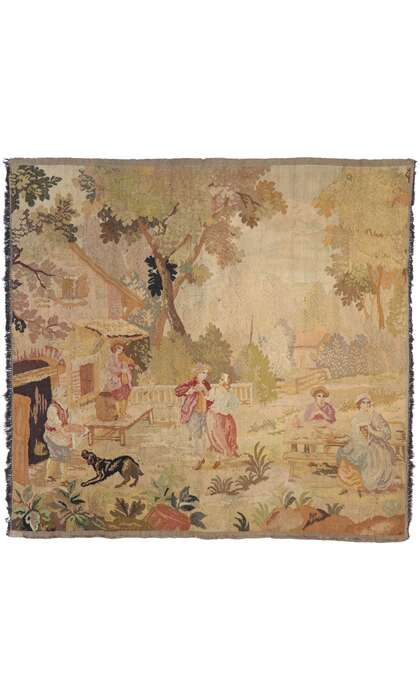 4 x 5 Antique French Aubusson Pastoral Tapestry 77763