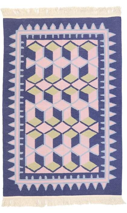 4 x 6 Vintage Chinese Geometric Kilim Rug 77812