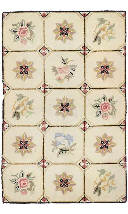 3 x 5 Antique American Hooked Rug 77831