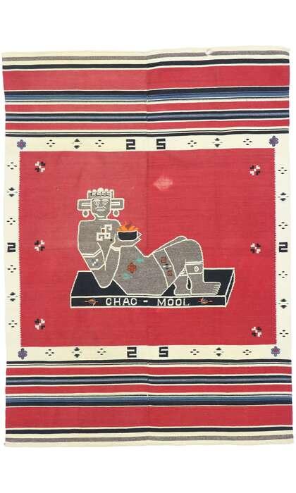 5 x 6 Vintage Mexican Chac Mool Kilim Rug 77762