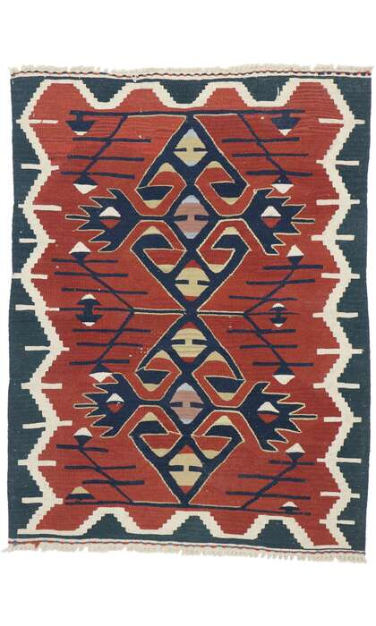 3 x 4 Vintage Persian Shiraz Kilim Rug 77842
