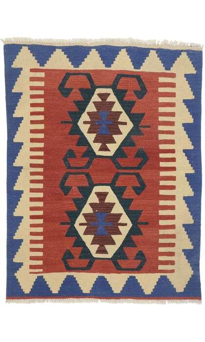 3 x 4 Vintage Persian Shiraz Kilim Rug 77844