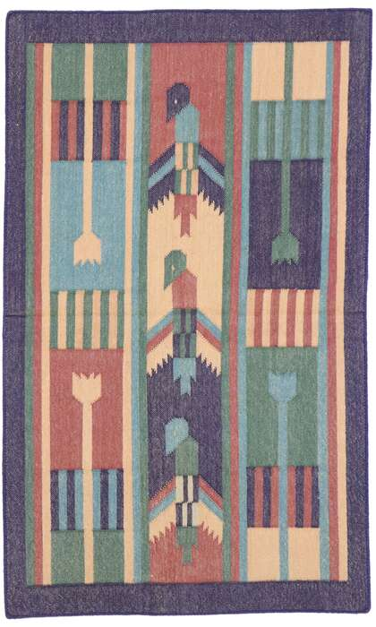 2 x 3 Vintage Indian Dhurrie Rug 77912