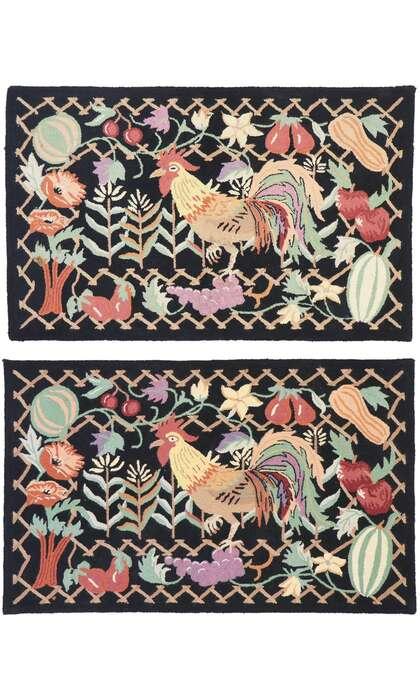 3 x 4 Vintage Rooster Hooked Rug 77917