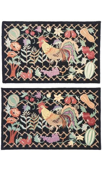 3 x 4 Vintage Rooster Hooked Rug 77918