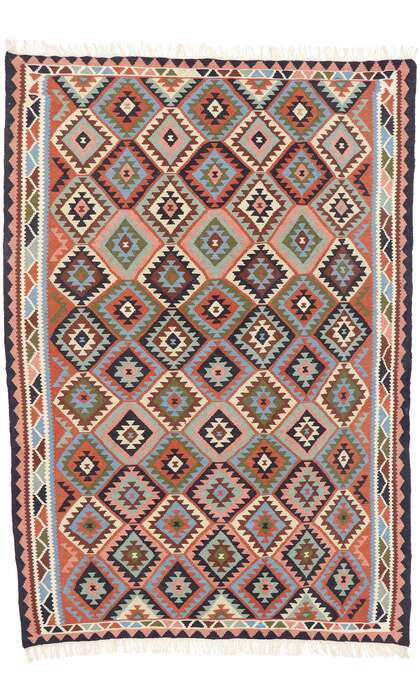 7 x 9 Vintage Persian Shiraz Kilim Rug 77923