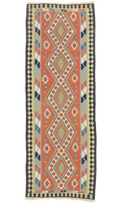 4 x 10 Vintage Persian Shiraz Kilim Runner 77925