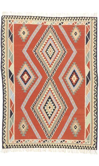 6 x 8 Vintage Persian Shiraz Kilim Rug 77926