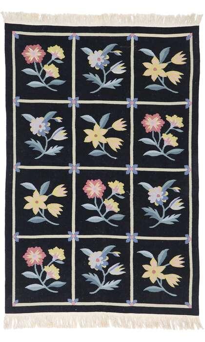 4 x 6 Vintage Chinese Floral Kilim Rug 78022