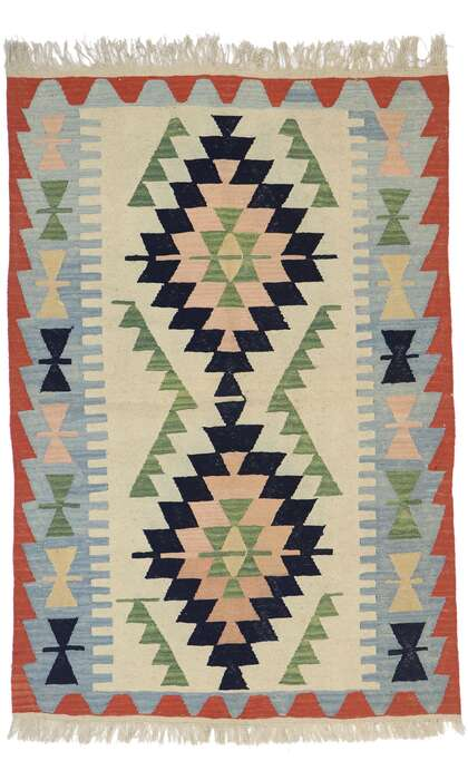 4 x 6 Vintage Persian Shiraz Kilim Rug 78046