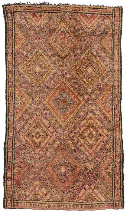 7 x 12 Vintage Berber Beni M'Guild Moroccan Rug with Mid-Century Modern Style 21277