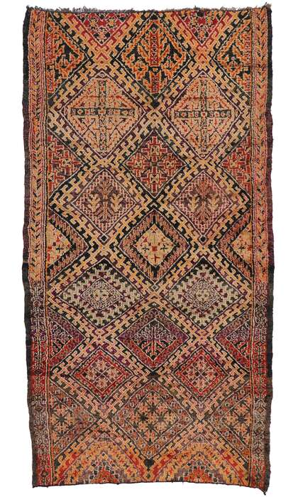 7 x 13 Vintage Berber Beni M'Guild Moroccan Rug with Mid-Century Modern Style 21287