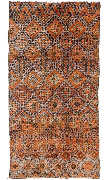 6 x 11 Vintage Berber Beni M'Guild Moroccan Rug with Mid-Century Modern Style 21298