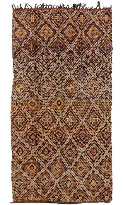 6 x 11 Vintage Berber Beni M'Guild Moroccan Rug with Mid-Century Modern Style 21318