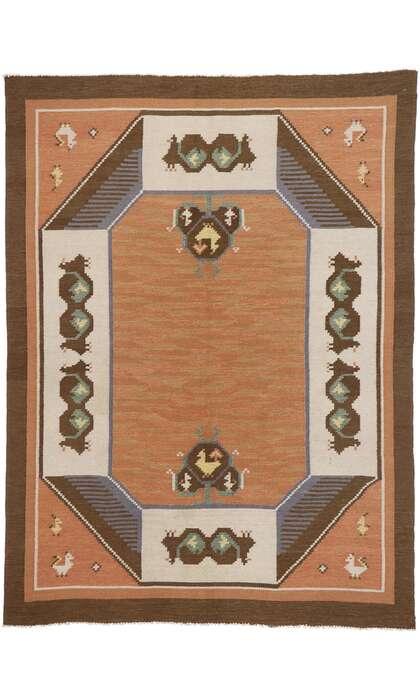 7 x 9 Vintage Swedish Kilim Rug 78110