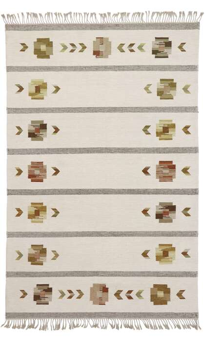 7 x 10 Vintage Swedish Kilim Rug 78112
