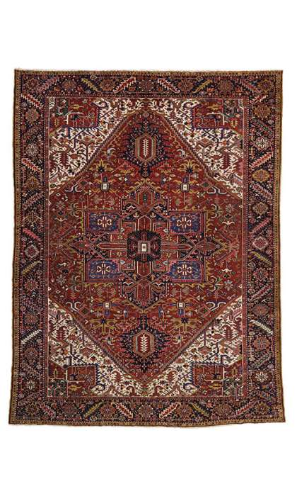 10 x 13 Antique Heriz Rug 77030
