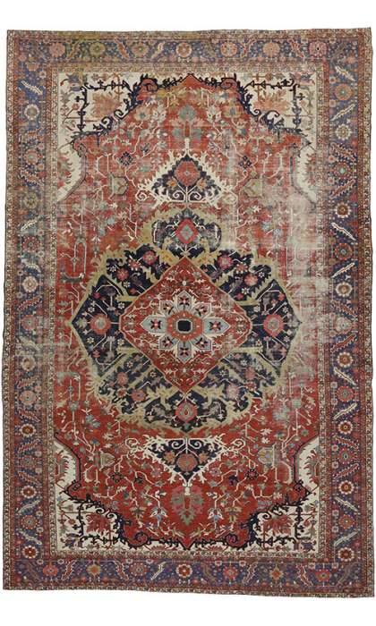 13 x 20 Antique Persian Serapi Rug 52303