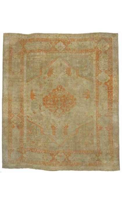 14 x 17 Antique Antique Oushak Rug 74255