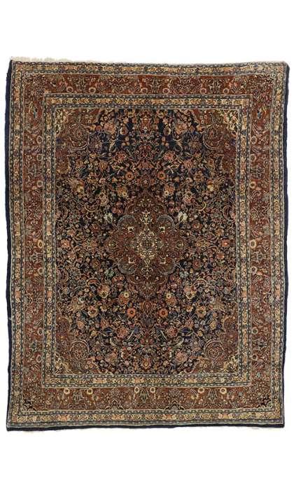 9 x 12 Antique Persian Kashan Rug 76597