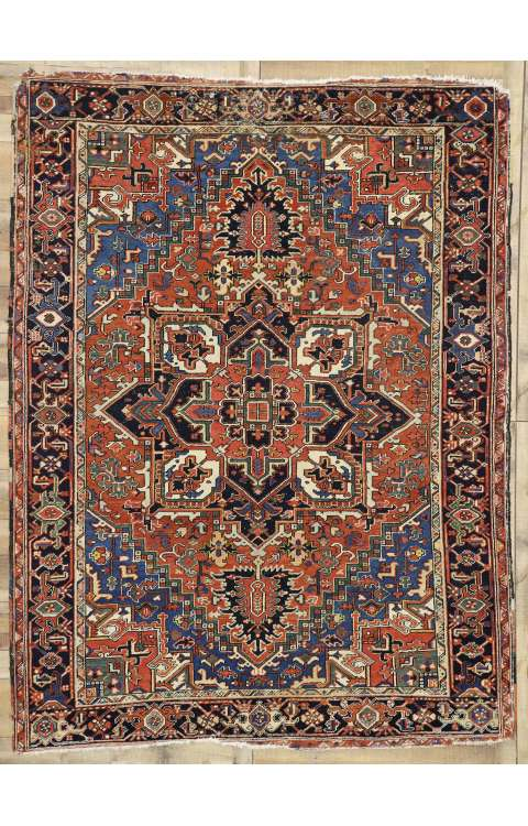8 x 10 Antique Heriz Rug 77276