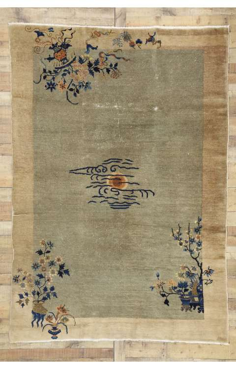 6 x 9 Antique Chinese Rug 76696